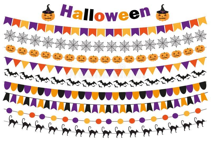 Halloweenowy ustawiający świąteczne dekoracje zaznacza, chorągiewka, girlanda Kolekcja elementy dla twój projekta Na biel ilustracji