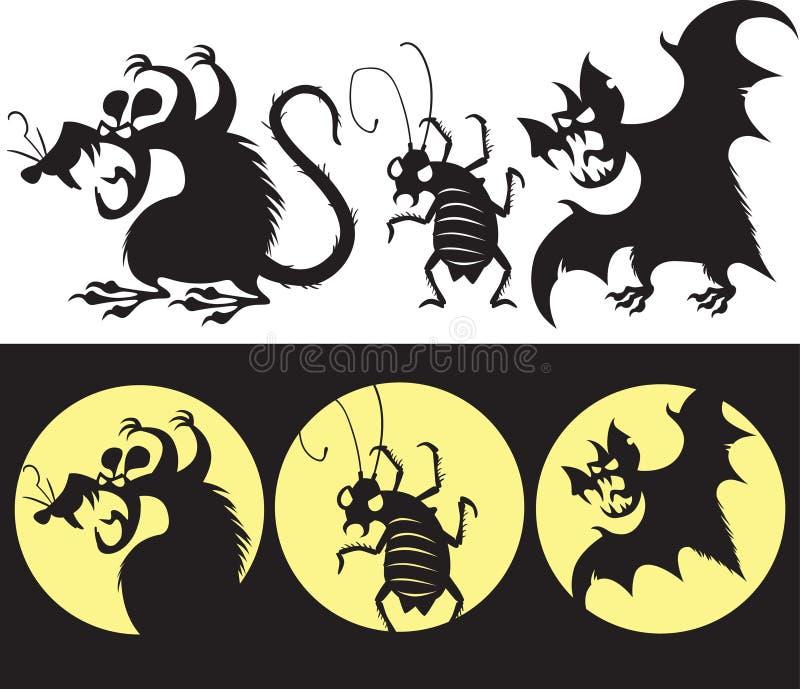 Halloweenowy ustawiający gniewna szczura, nietoperza i karakanu sylwetka, royalty ilustracja