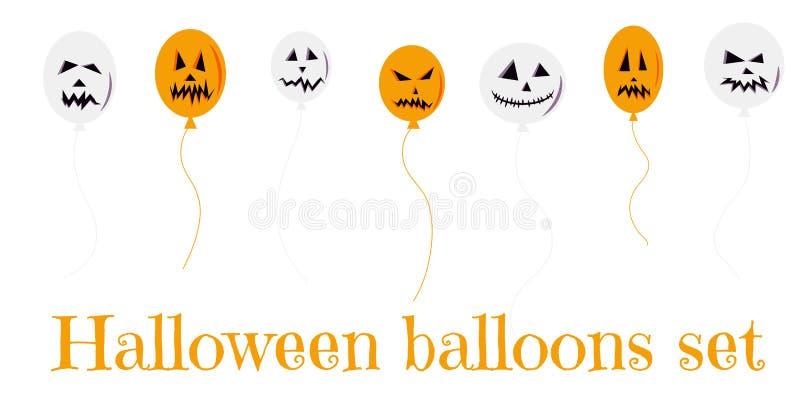 Halloweenowy ustawiający kolorowi balony biali i pomarańczowi z strasznymi twarzami dla sztandaru, plakata, kartki z pozdrowienia ilustracja wektor