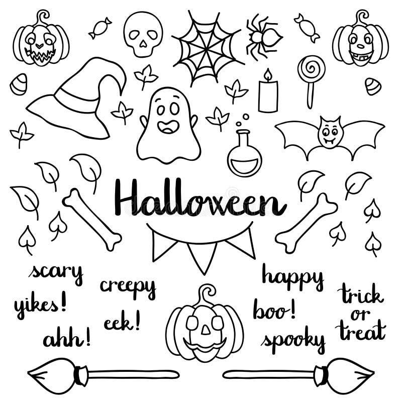 Halloweenowy ustawiający rzeczy i słowa odizolowywający doodle czarnego kontur dla barwić royalty ilustracja