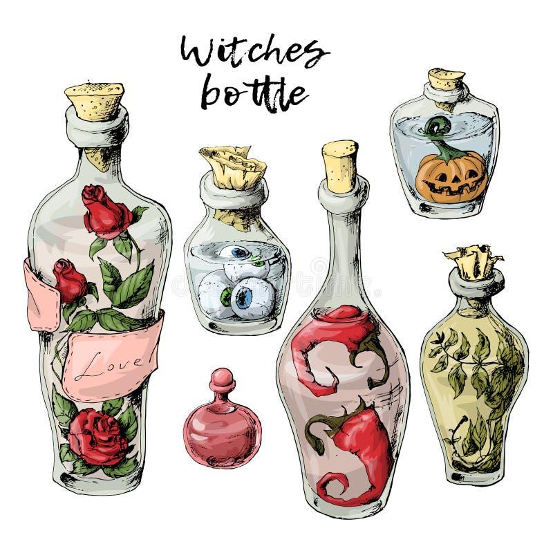 Halloweenowy ustawiający więdnąć butelki z napojem miłosnym i trofeami ilustracja wektor