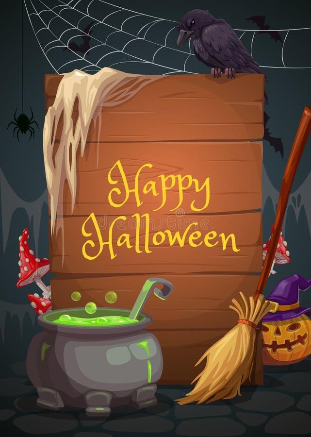 Halloweenowy wakacje, czarownicy jama, napój miłosny i kocioł, ilustracja wektor