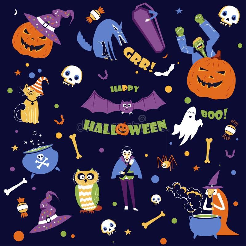 Halloweenowy wakacje, sezonowy wydarzenie jesień spadku symbole ilustracji