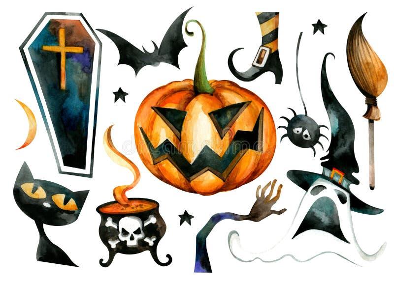 Halloweenowy Wakacyjny charakter - set Ciemne sylwetki Straszni obrazki, akwarela ilustracji