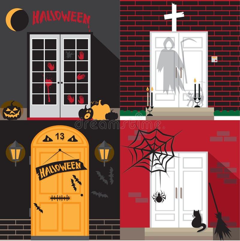 Halloweenowy wakacyjny drzwi ilustracji