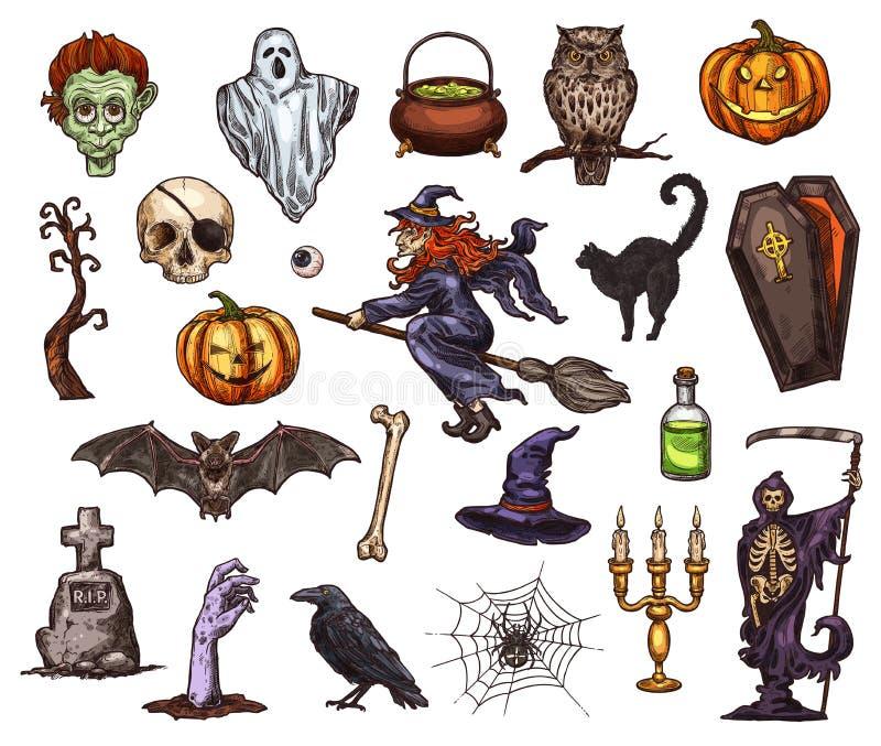 Halloweenowy wakacyjny horror nocy nakreślenia ikony projekt ilustracji