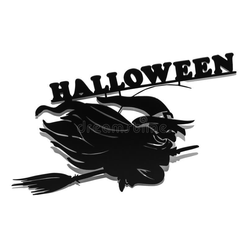 Halloweenowy wakacyjny metalu odgórnego widoku wizerunek czarownica nad białym tłem ilustracja wektor