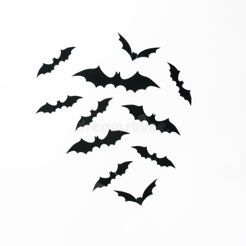 Halloweenowy wakacyjny minimalny odgórny widok nietoperze na białym tle zdjęcie stock