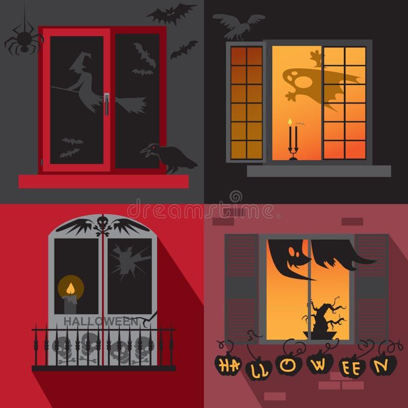 Halloweenowy wakacyjny Windows ilustracja wektor