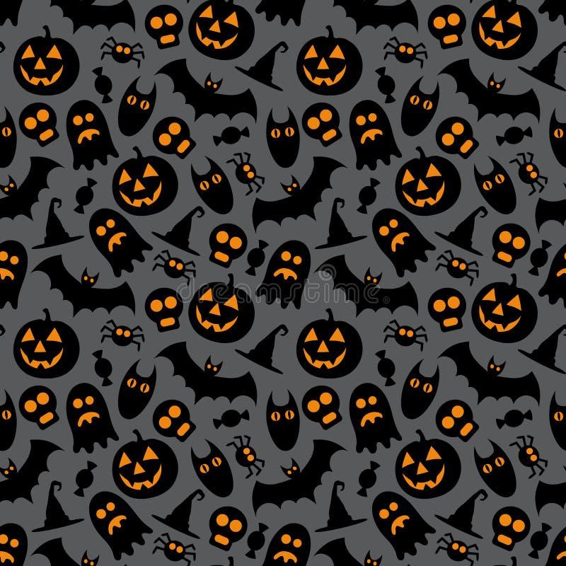 Halloweenowy wektorowy bezszwowy wzór ilustracji