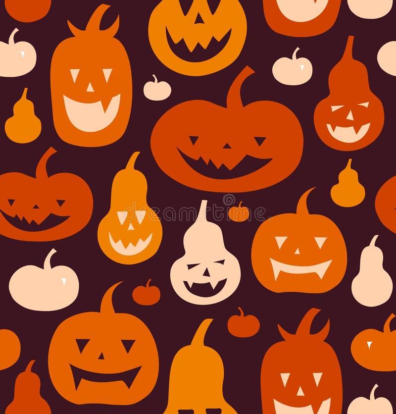 Halloweenowy wektorowy bezszwowy wzór Dekoracyjny tło z śmiesznymi rysunkowymi baniami Śliczne sylwetki royalty ilustracja