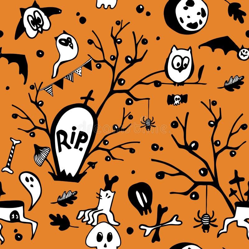 Halloweenowy wektorowy bezszwowy wzór z sowami, duchami, nietoperzami, pająkami, czaszkami i drzewami, ilustracja wektor