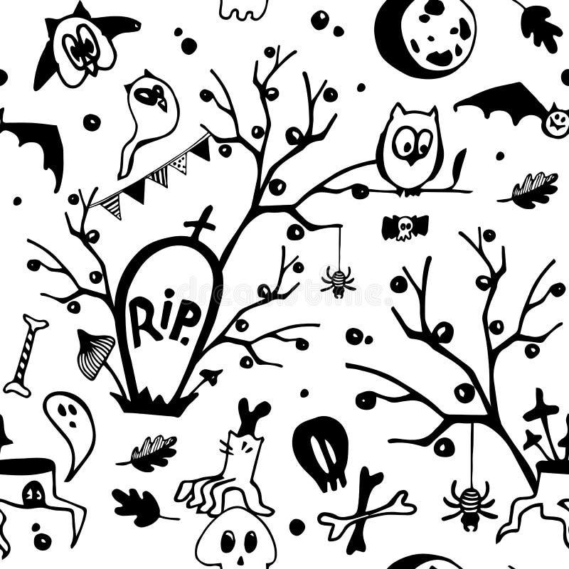 Halloweenowy wektorowy czarny i biały bezszwowy wzór z sowami, duchami, nietoperzami, pająkami, czaszkami i drzewami, royalty ilustracja
