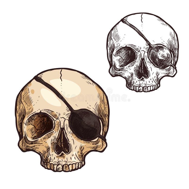 Halloweenowy wektorowy nakreślenie ikony czaszki kościec ilustracja wektor