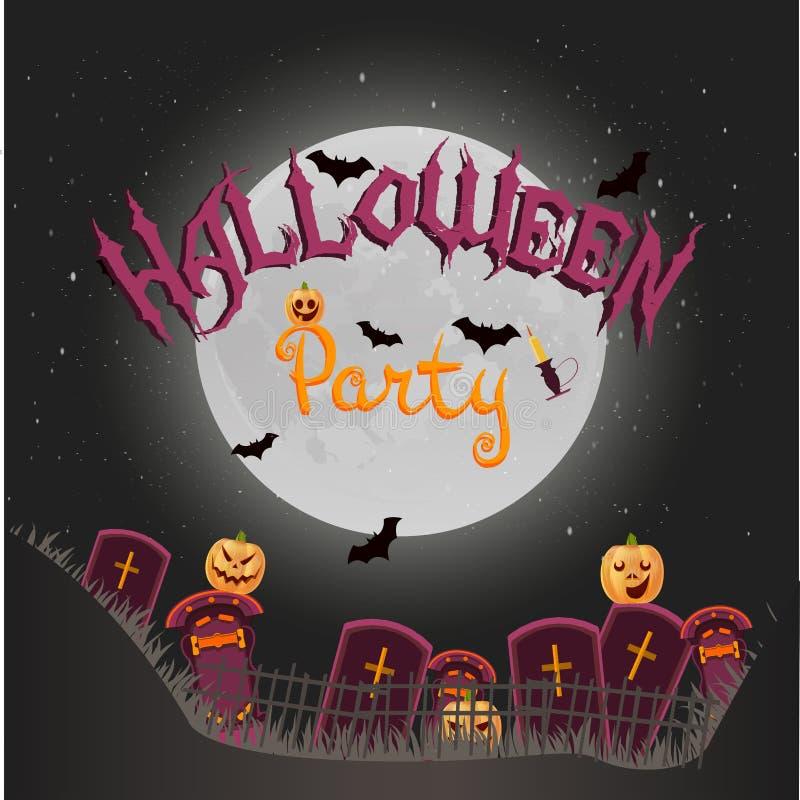 Halloweenowy wektorowy pionowo tło z krzyżami, nocą, baniami, świeczką i księżyc w pełni, Ulotki lub zaproszenia szablon dla szcz royalty ilustracja