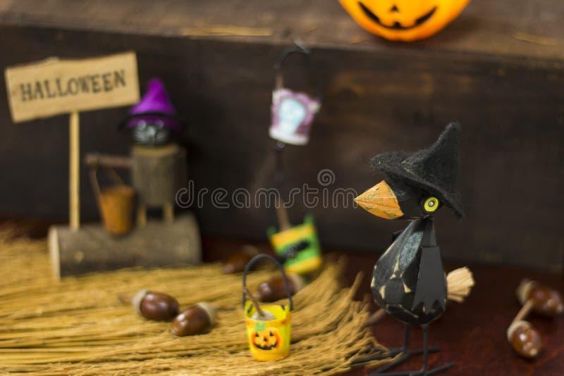 Halloweenowy wizerunek z wroną i Jack o lampionem obraz royalty free