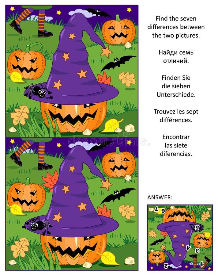 Halloweenowy znajduje różnica obrazka łamigłówkę z czarownica kapeluszem, baniami, nietoperzami, etc, ilustracji