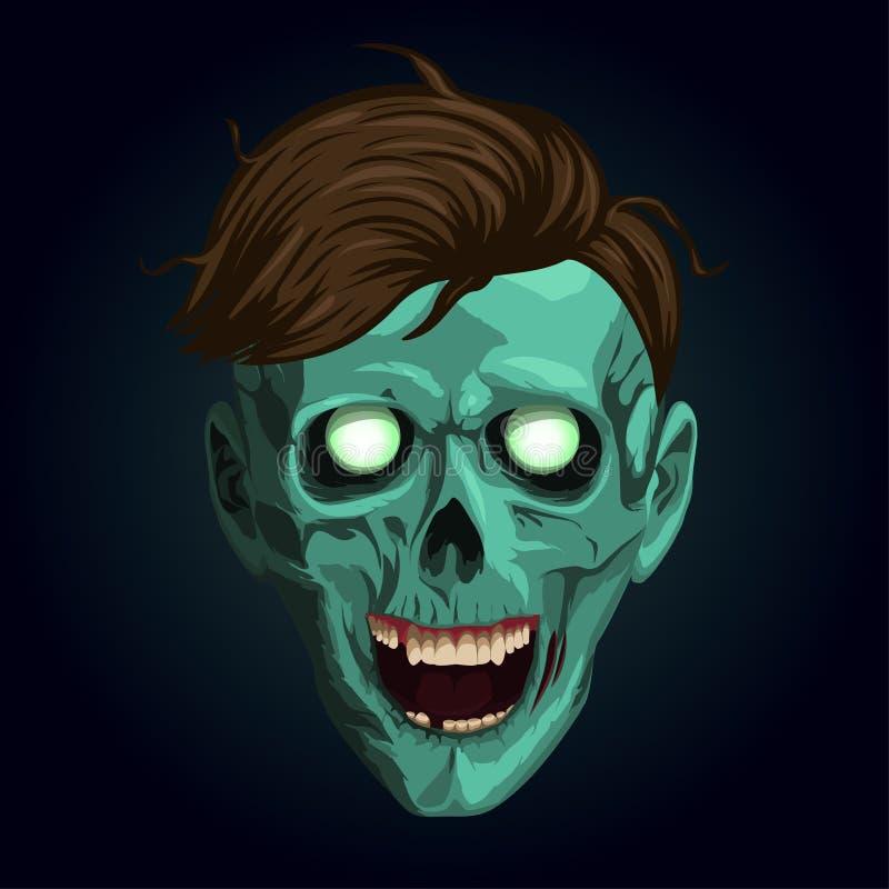 Halloweenowy zombi, żywy trup, potwór bestia, kościec, pokraka, czaszka, ilustracji