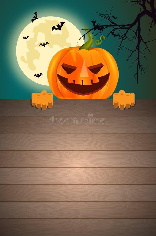 Halloweenowych bani Deskowa tapeta zdjęcia stock