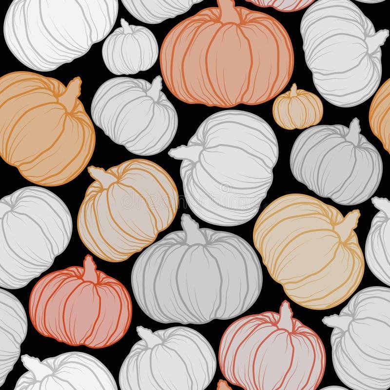 Halloweenowych bani wektoru bezszwowy wzór Październik tapeta fotografia stock