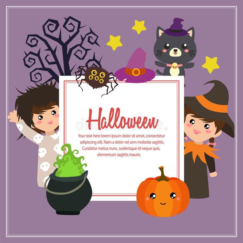 Halloweenowych dzieciaków kostiumów kwadratowy tekst royalty ilustracja