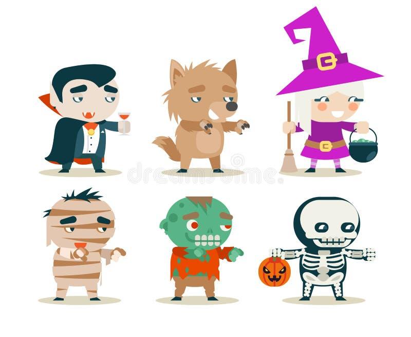 Halloweenowych dziecko kostiumowych dzieciaków fantazi RPG gry przyjęcia charakterów maskaradowe ikony ustawiają wektorową ilustr ilustracja wektor