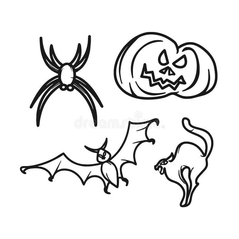 Halloweenowych graficznych ikon mini set ilustracji