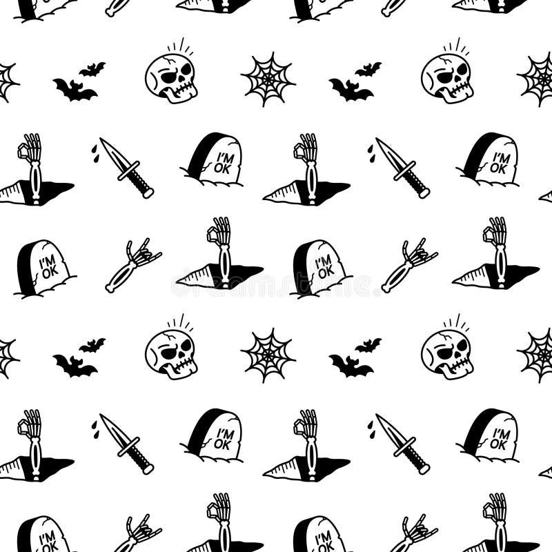 Halloweenowych ikon Bezszwowy wzór royalty ilustracja