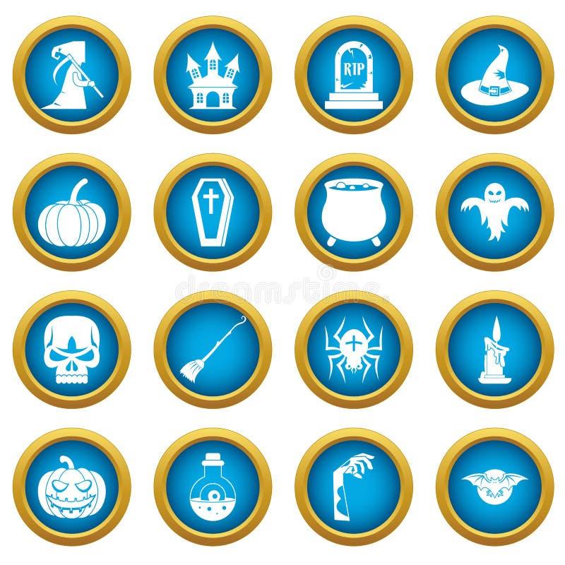 Halloweenowych ikon okręgu błękitny set ilustracji
