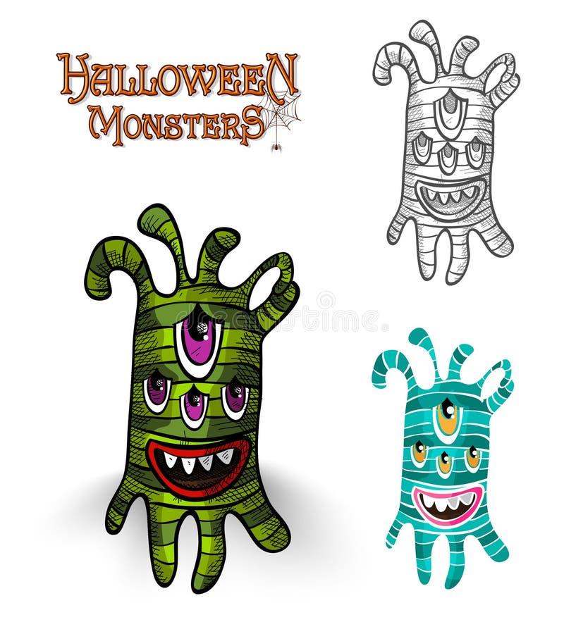 Halloweenowych potworów istoty ilustraci EPS10 straszna kartoteka royalty ilustracja