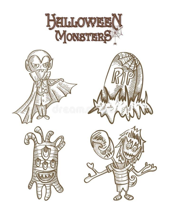 Halloweenowych potworów straszni charaktery ustawiają EPS10 kartotekę ilustracja wektor