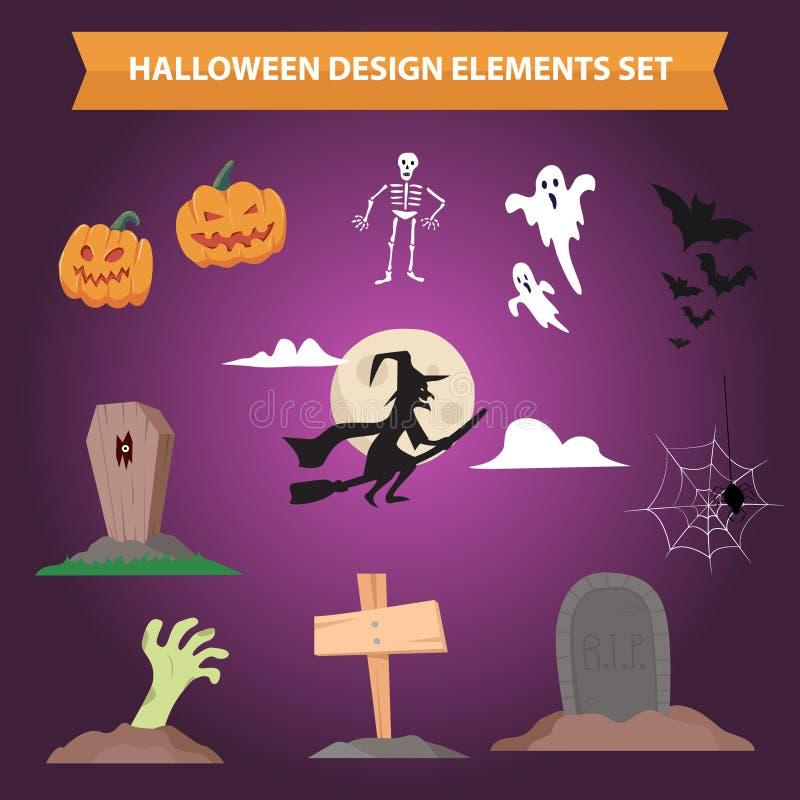 Halloweenowych projektów elementów koloru kolekci Płaski set royalty ilustracja