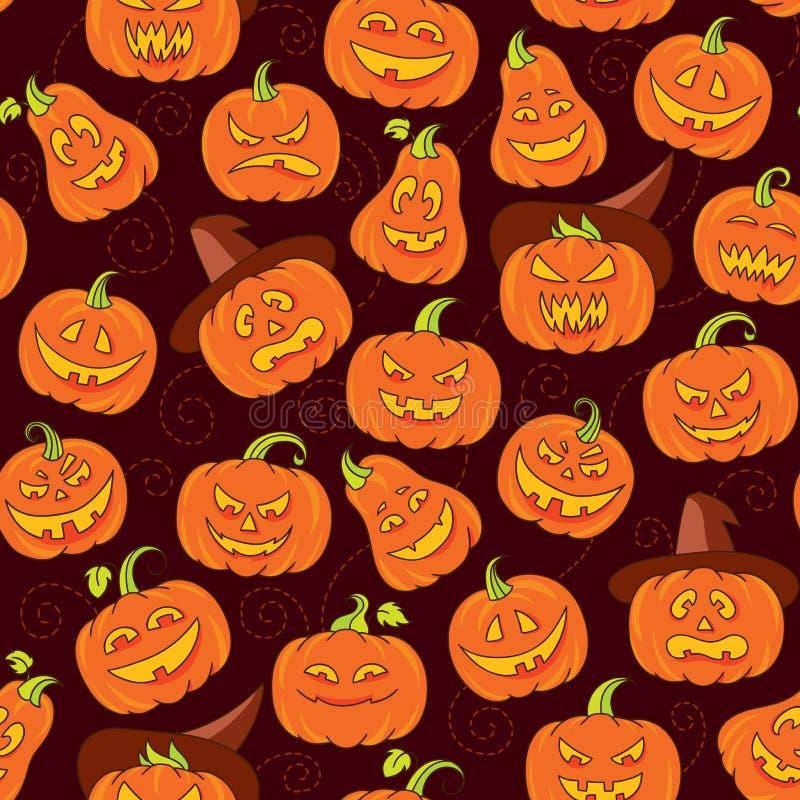 Halloweenowych strasznych bani wektorowy bezszwowy wzór ilustracja wektor