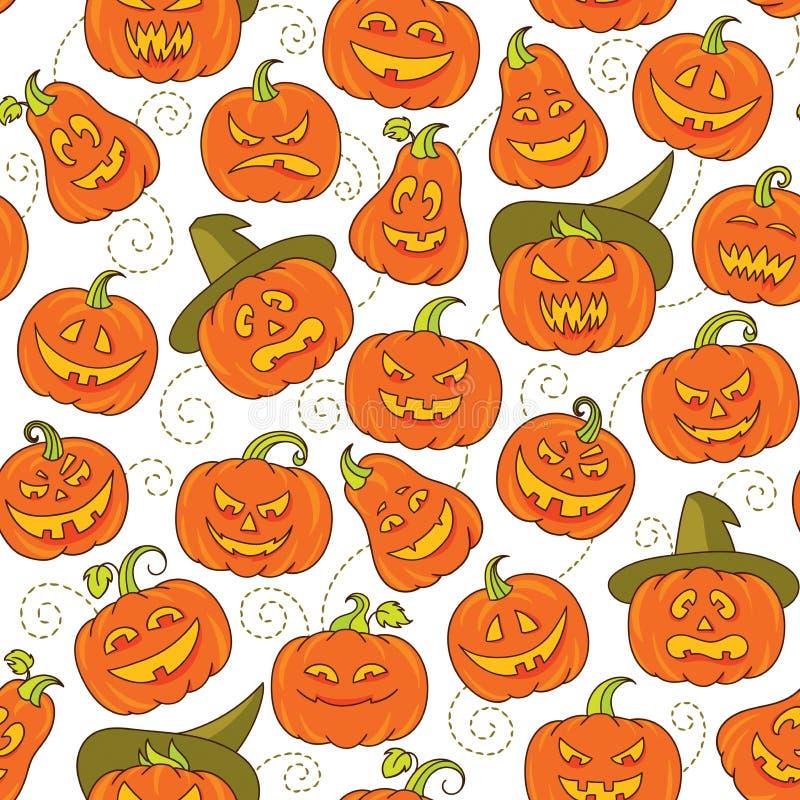 Halloweenowych strasznych bani wektorowy bezszwowy wzór ilustracji