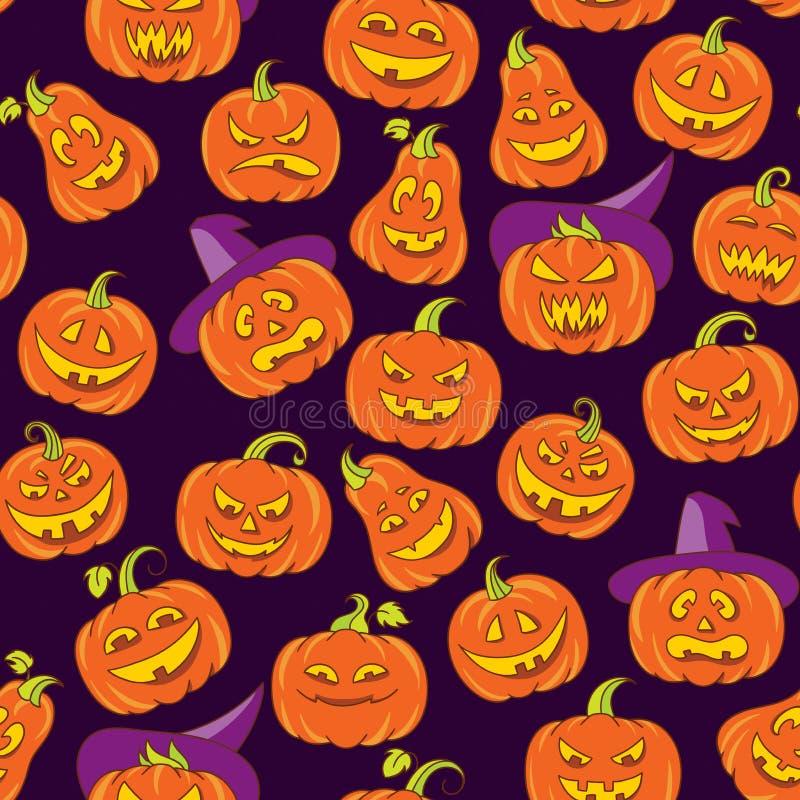 Halloweenowych strasznych bani wektorowy bezszwowy wzór Ciemny purpurowy tło z pomarańczowymi śmiesznymi twarzami w doodle stylu ilustracji