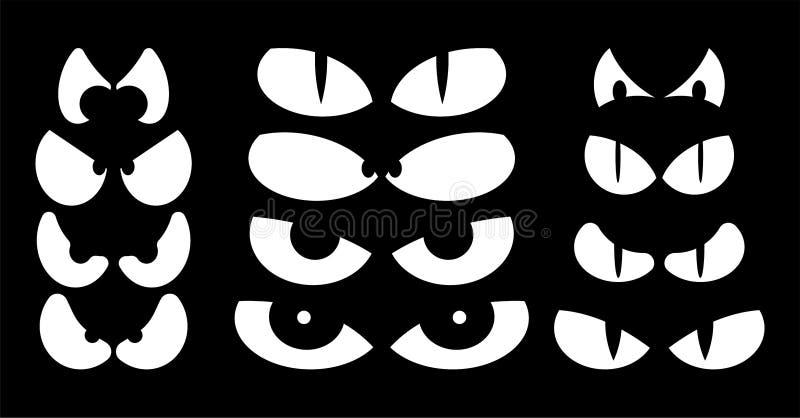 Halloweenowych strasznych strasznych oczu wektorowy projekt odizolowywający na czarnych półdupkach royalty ilustracja