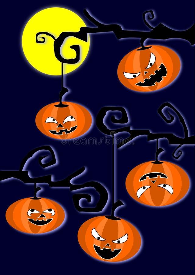 Halloweens dynie na gałęziach drzew Ciemne niebo ilustracji