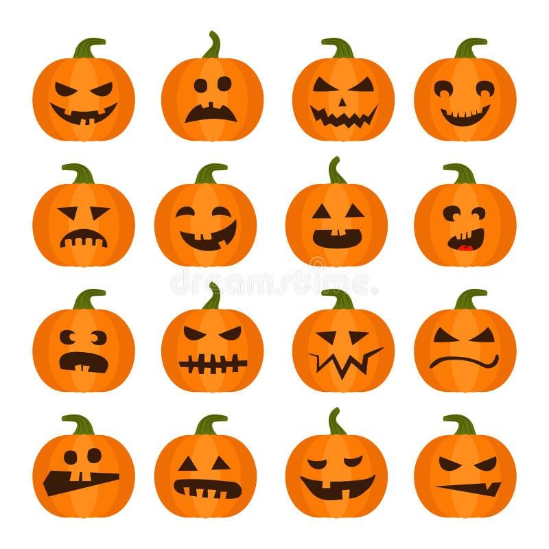 Halloweens-Kürbisikonen eingestellt lizenzfreie abbildung