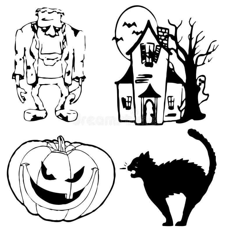 Halloweensymbols royalty-vrije illustratie