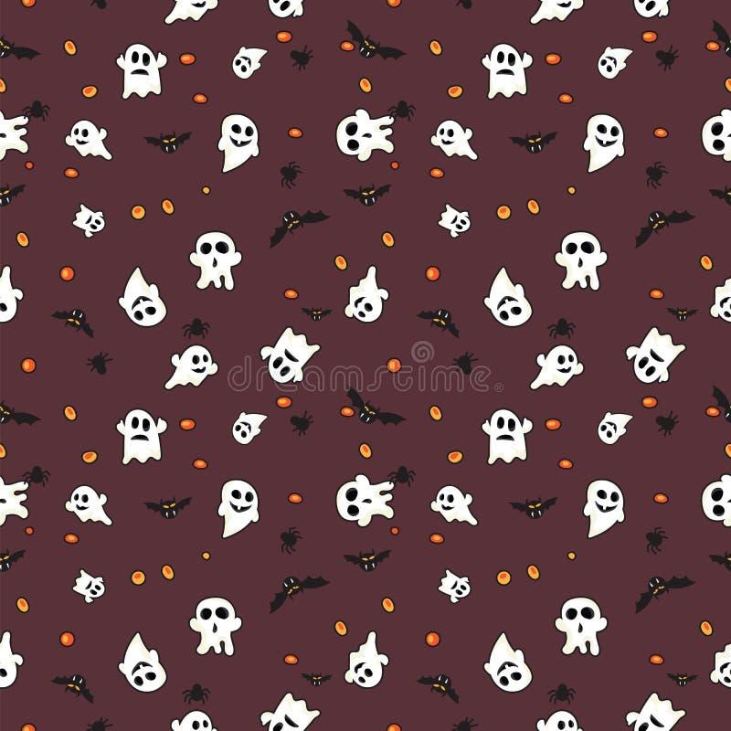 Hallowen-Musterschwarzschläger, weißer Geist und orange Kürbis auf rotem Hintergrund vektor abbildung