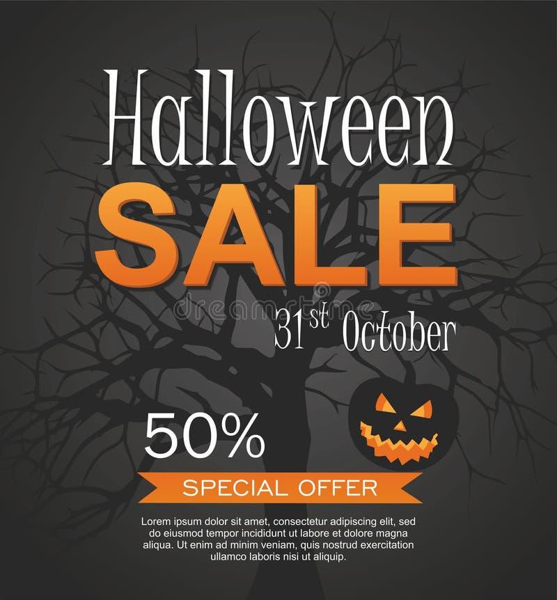 Hallowen Sale vector banner with pumpkin. Halloween special offer. stock illustration