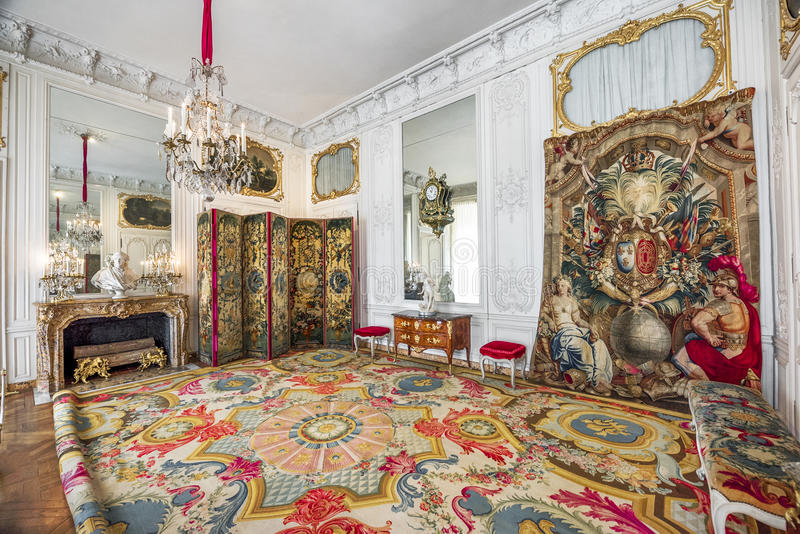 In the halls of Versailles. The luxury of Versailles halls. France royalty free stock image