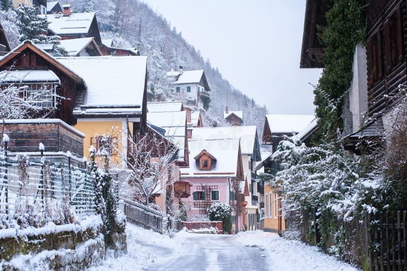 Hallstatt老镇,阿尔卑斯山,奥地利,在冬天 免版税库存图片