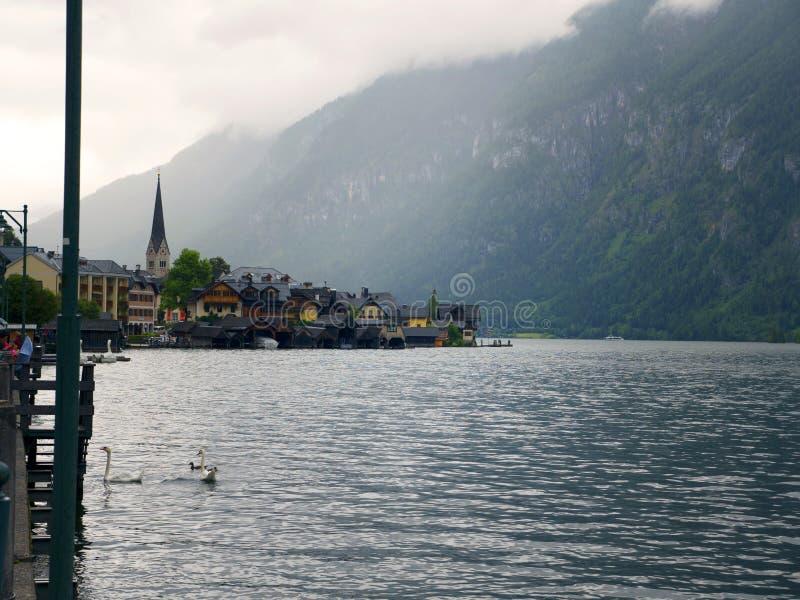 Hallstatt风景,萨尔茨堡 Mountain湖,高山断层块,美丽的峡谷在奥地利 免版税库存照片