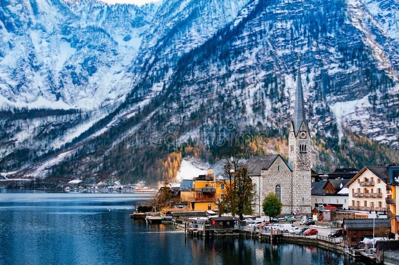 Hallstatt,联合国科教文组织世界文化遗产站点冬天视图  阿尔卑斯奥地利 免版税库存图片