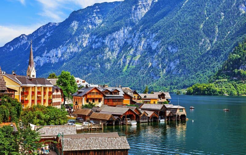 Hallstatt, Áustria Vila antiga no lago foto de stock royalty free