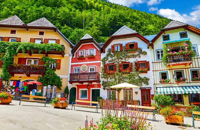 Hallstatt Austria central market square traditional houses stock photos