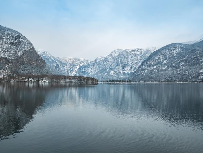 Hallstatt austria landscape apls moutain winter season snow royalty free stock images