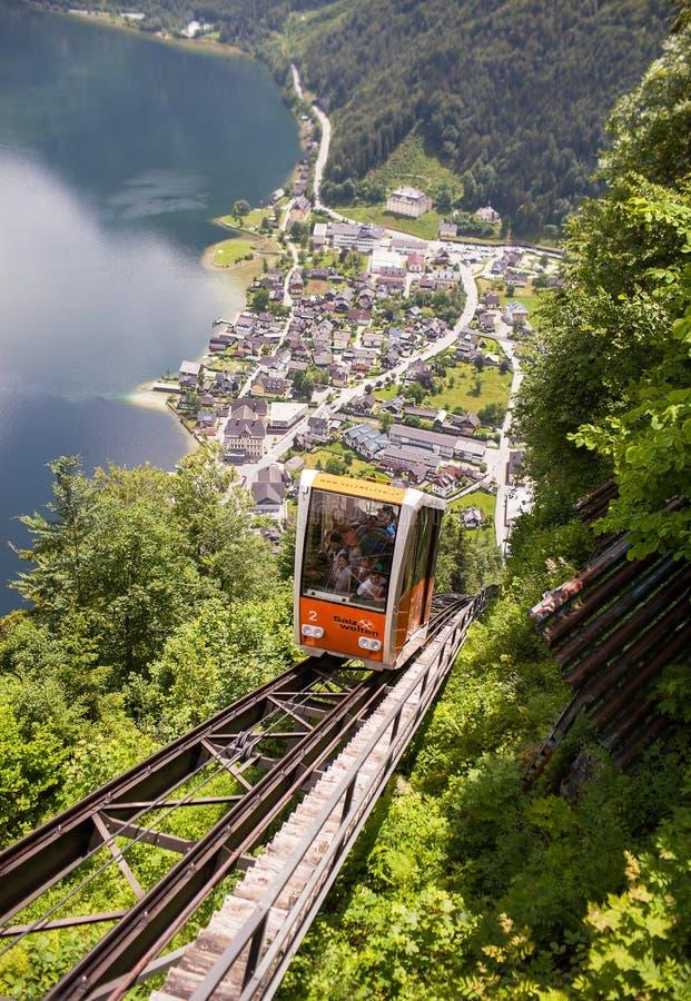 Hallstatt, Austria - May 31, 2018: Funicular climbs up the railway stock photos