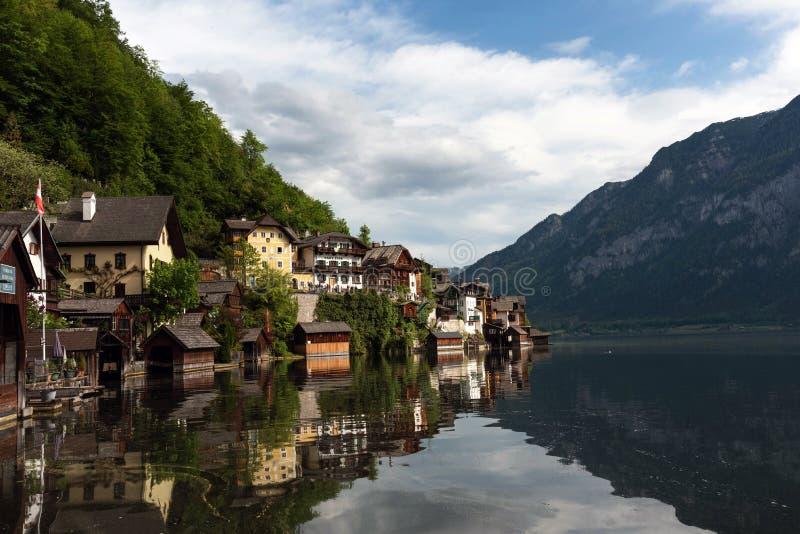 Hallstatt, Austria - May 2, 2018: Scenic postcard view of the Hallstatt in the Austrian Alps in the summer morning, Salzkammergut stock images